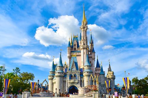 Fototapeta Castle In Amusement Park Against Sky obraz