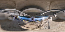 Full Seamless Spherical Hdri Panorama 360 Degrees Angle View Under Steel Frame Construction Of Huge Car Bridge Across River  In Equirectangular Projection. VR  AR Content
