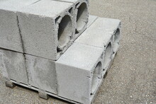 A Pallet Of Cinder Blocks On A...