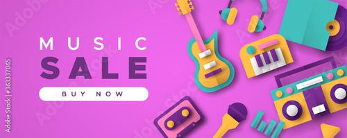 Obraz na plátně Music business sale template with papercut icons