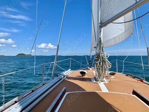 Leinwand Poster Sailboat Sailing In Sea Against Sky