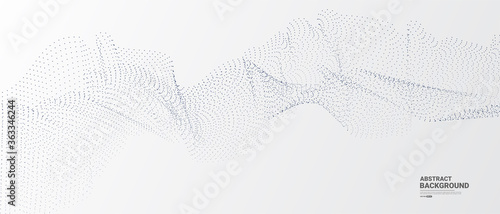 Fototapeta Grey white abstract background with flowing dots particles. Digital future technology concept. vector illustration.	  obraz