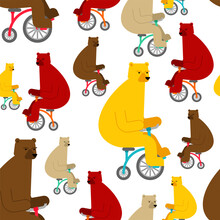 Bear On Bicycle Pattern Seamle...