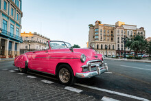 Old American Car On Streets Of Capital City Of Cuba. Famous Tourist Attraction, Cars From 50s And 60s.