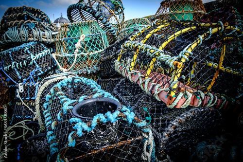Close-up Of Fishing Net At Harbor Fototapet