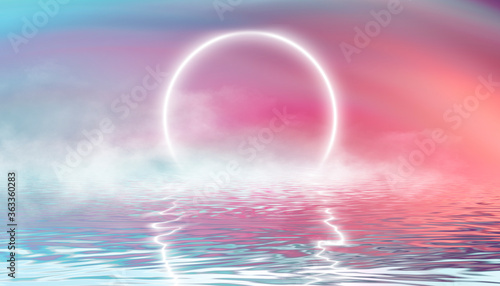Reflection in the water, colorful sunset. Abstract futuristic background. Neon glow, reflection of tropical beach beach tent. 3d illustration