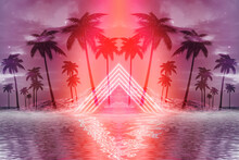 Abstract Futuristic Background. Neon Glow, Reflection Of Tropical Palm Trees On The Water. Night View, Beach Party. 3d Illustration