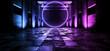 canvas print picture - Sci Fi Neon Glowing Purple Blue Circle Shape Rough Cement Asphalt Ground Garage Hangar Grunge  Concrete Stage Showcase Studio Club Dance Floor Futuristic Alien Spaceship 3D Rendering