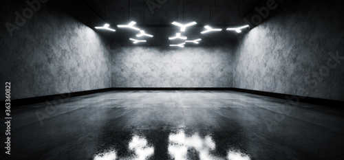 Car Garage Showroom Hangar Modern Sci Fi Elegant Led White Abstract Shapes Lights Cement Rough Concrete Wall With Reflective Floor  Background 3D Rendering