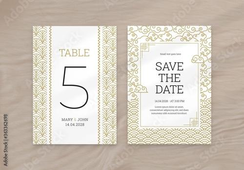 Fototapeta Gold Wedding Flyer with Asian Illustrations obraz