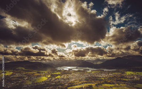 Tela Scenic View Of Storm Clouds Over Landscape