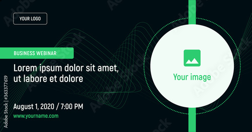Fototapeta Business webinar with image and contact data on a dark background. Green vector template for webinar, conference, e-mail, flyer, meetup, party, event, web header obraz
