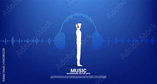 Photo Silhouette of man with headphone and Sound wave Music Equalizer background