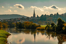 Scenic View Of River Wye By Buildings Against Sky