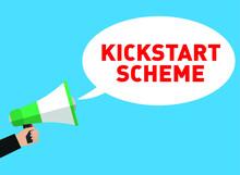 "KICKSTART SCHEME Megaphone Vector; Chancellor Rishi Sunak Has Announced A £2bn ""kickstart Scheme"" To Create More Jobs For Young People"
