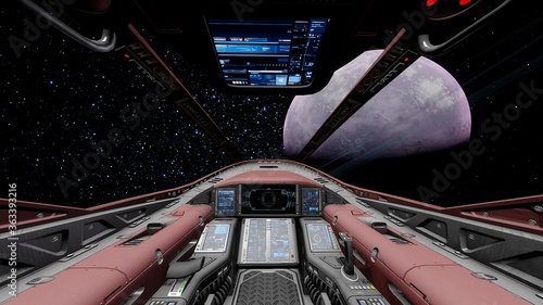 Photo view from the cockpit of a spaceship, cockpit spaceship background, cockpit UFO