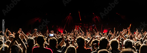 Photo Crowd At Music Concert During Night