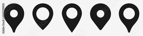 Location map pin vector icon set. Black GPS marker symbols. Plan place pointer signs. Location tag concept, isolated flat design. Pins illustration on white background.