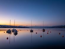 Sailboats Moored In Marina At ...