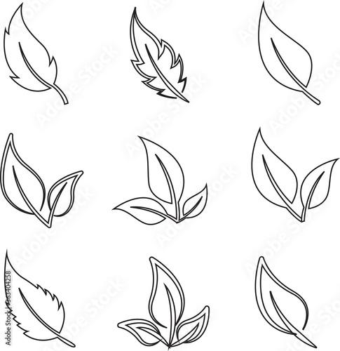 Fototapety, obrazy: eco set of black line leaf icons flat on white background