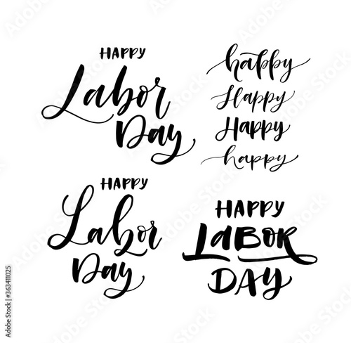 Collection of hand drawn happy Labor day lettering Fototapet