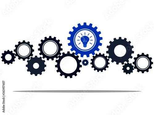 gear wheels and blue light bulb symbolizing idea or solution.vector illustration