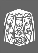 Illustration Of The Three Wise Men And Baby Jesus Christ