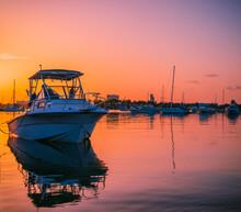 Fishing Boats At Sunrise In Mi...