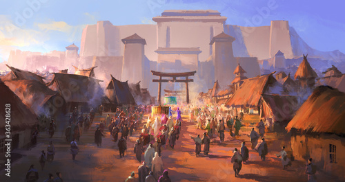 The simple ancient people greeted the foreign envoys, digital painting.