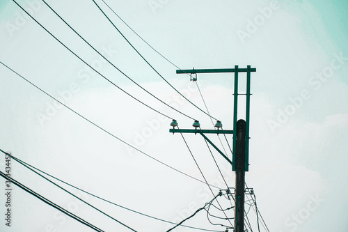 Obraz na plátně Low Angle View Of Electricity Pylon Against Sky