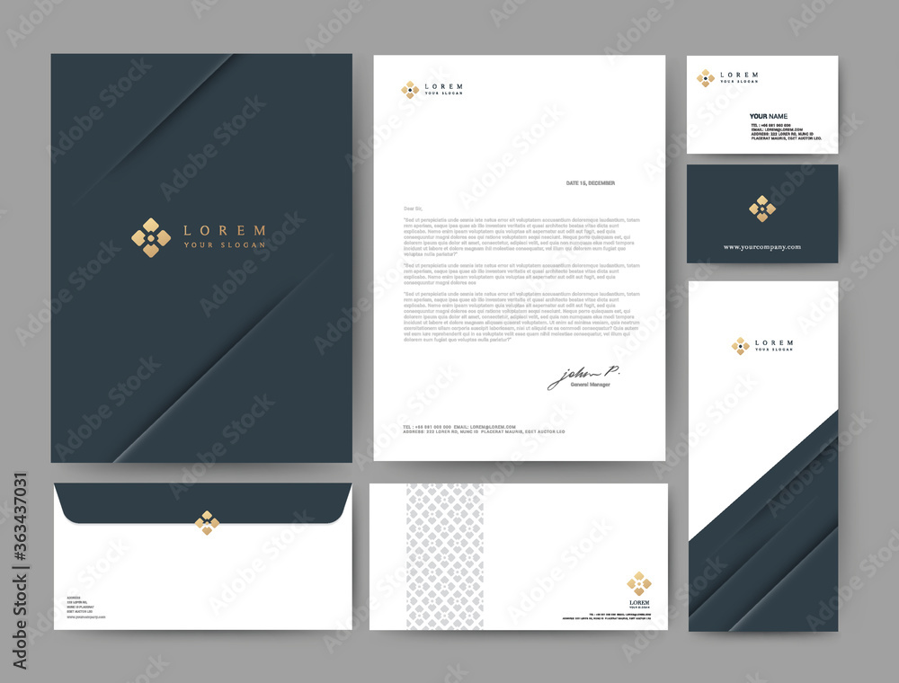 Fototapeta Branding identity template corporate company design, Set for business hotel, resort, spa, luxury premium logo, Blue color, vector illustration