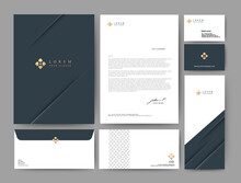 Branding Identity Template Corporate Company Design, Set For Business Hotel, Resort, Spa, Luxury Premium Logo, Blue Color, Vector Illustration