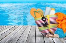 Bag With Flip Flops, Sunglasse...