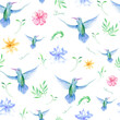 Floral seamless tropical pattern, summer background with exotic flowers, palm leaves, jungle leaf, orchid flower and hummingbird. Vintage botanical wallpaper, illustration in Hawaiian style.