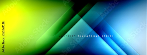 Fototapeta Motion concept neon shiny lines on liquid color gradients abstract backgrounds. Dynamic shadows and lights templates for text obraz