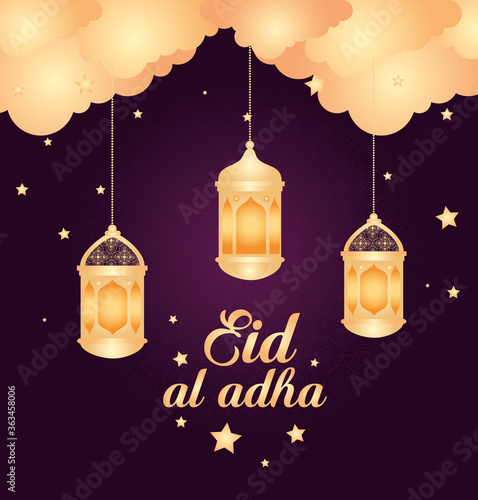 Fototapeta eid al adha, happy sacrifice feast, with lanterns hanging decoration, clouds and stars vector illustration design obraz