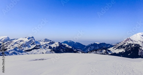 Fototapety, obrazy: Scenic View Of Snowcapped Mountains Against Clear Blue Sky