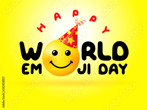Happy World Emoji Day yellow banner. Isolated abstract graphic design template. Vector smile icon and text. Cute funny colorful symbol in cartoon style