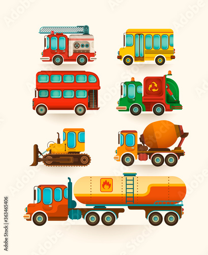 Set of various vehicles in retro style. Vector illustration.