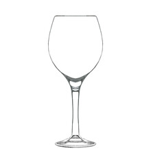 Wine Glass Isolated On White. Hand Drawn Illustration. Pencil Sketch Of Empty Glassware For Alcohol Drink. Design Element For Bar And Restaurant Menu, Recipes, Flyers.
