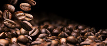 Coffee Beans On A Black Background Banner Design