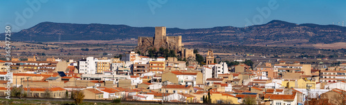 Aerial View Of Townscape Against Sky. castillo De Almansa, Albacete. España castle Of Spain