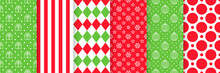 Xmas Seamless Pattern. Vector. Christmas, New Year Prints. Backgrounds With Stripes, Ball, Gift, Circles And Rhombuses. Set Holiday Textures. Festive Wrapping Paper. Red Green Illustration