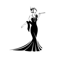 Dress In Retro Style Silhouette. 1920 Year. Vector Illustration On A White Background.