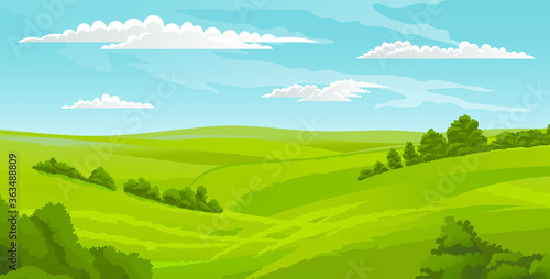 Obraz Beautiful landscape, scene with green lawn and bushes, sky with clouds. Summer time, nobody. Greenery of summer. Summer scenery, horizontal view of rural scene. Calm nature, hot weather, morning - fototapety do salonu