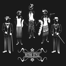 Silhouette Of Men And Women In Retro Style. 1920 Year. Set Of Vector Illustrations On A Black Background.