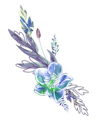Watercolor Hand Painted Floral Illustration.