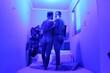 Leinwanddruck Bild - Full Length Of Naked Friends Standing On Bed