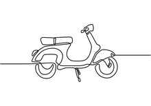 Classic Scooter. Continuous One Line Art Classical Scooter Motorcycle Vector Illustration Isolated On White Background. Vintage Scooter Or Vespa Motorbike Logo. Retro Transportation Concept.