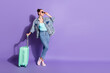 canvas print picture - Full length body size view of her she nice attractive pretty slim fit glad cheerful cheery girl going voyage airport tour isolated on bright vivid shine vibrant lilac purple violet color background